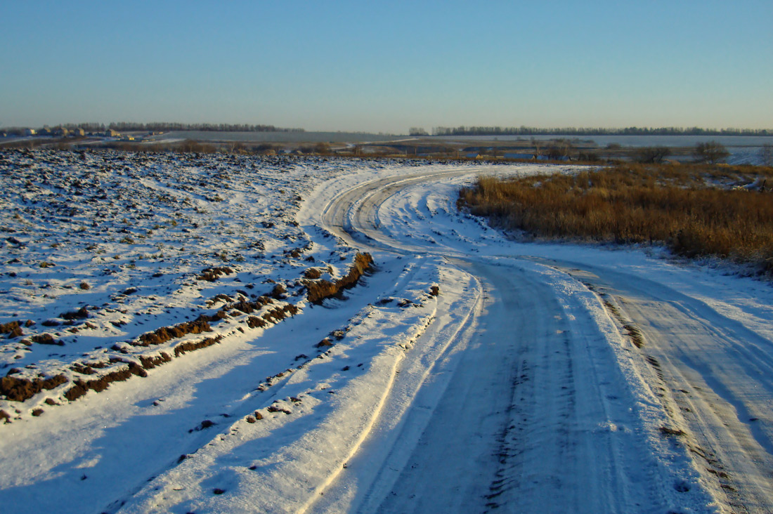 "photo ""..., the road.."" tags: landscape, road, winter, декабрь"
