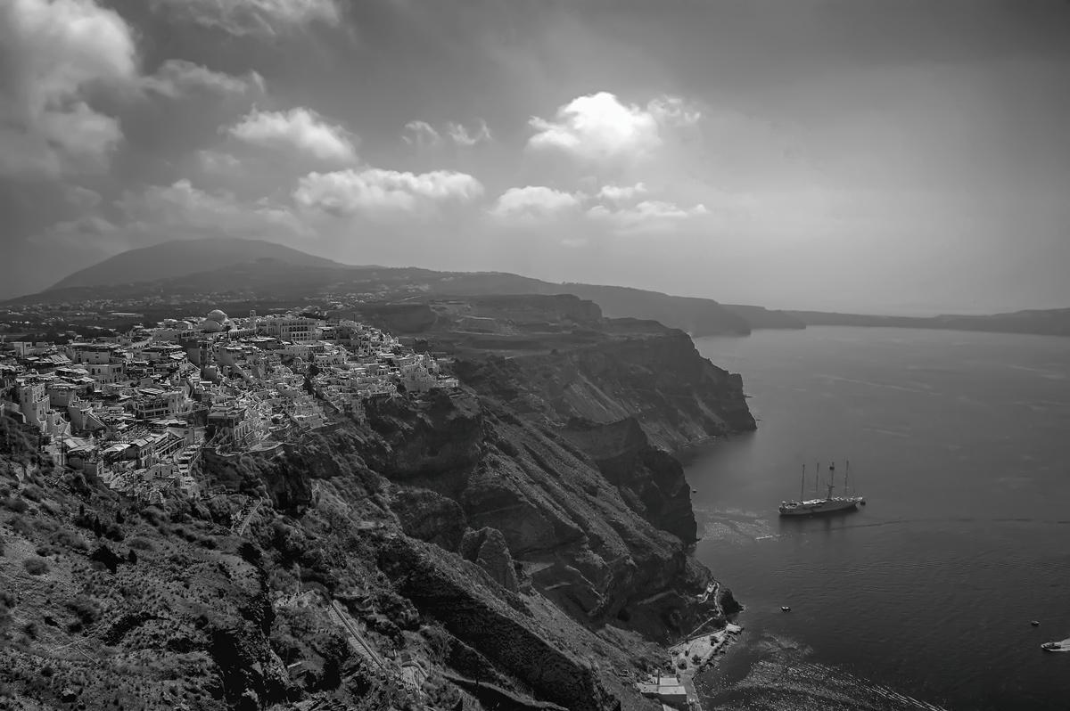 """фото """"Крит"""" метки: пейзаж, путешествия, черно-белые, Город, берег, ветер, вода, закат, море, песок, солнце"""
