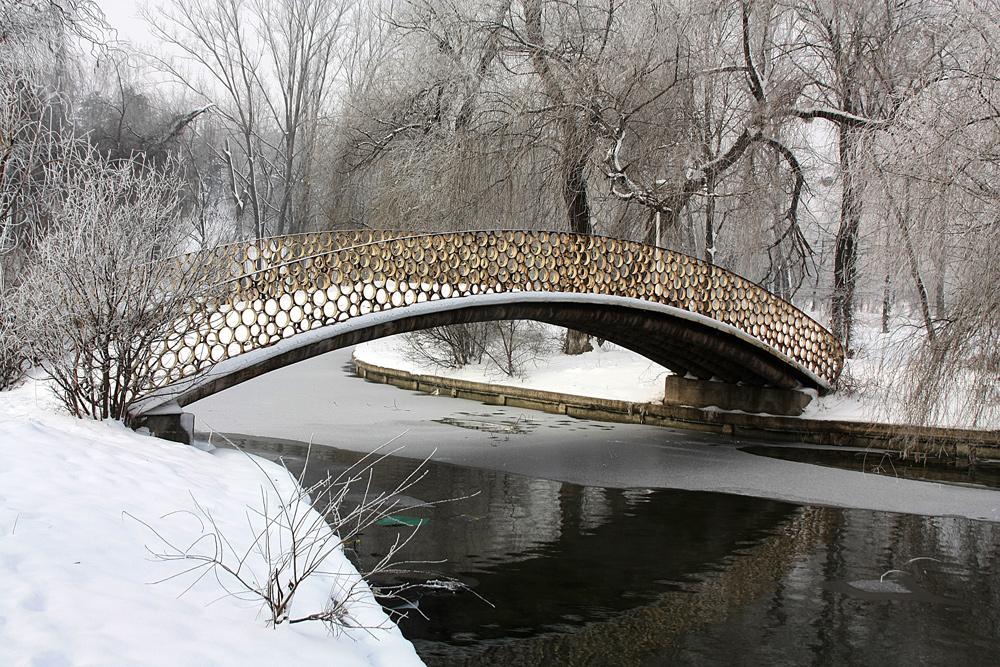 """photo """"***"""" tags: landscape, Bucharest, bridge, lake, parks, snow, trees, winter"""