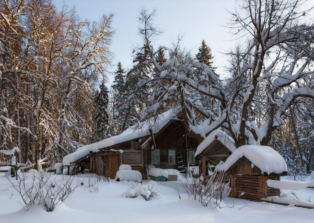 "photo ""***"" tags: landscape, forest, snow, winter, избушка, мороз, сугробы"