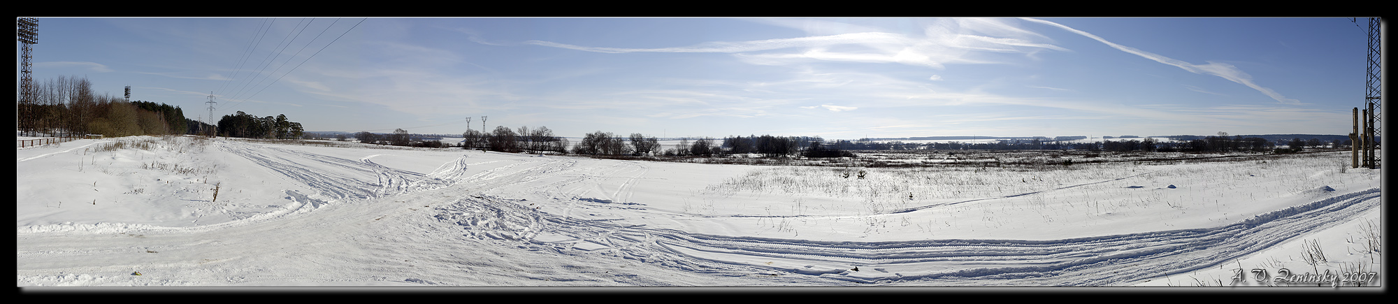 "photo ""Frost and sun, a wonderful day;)"" tags: landscape, panoramic, nature, Europe, clouds, field, forest, road, winter"