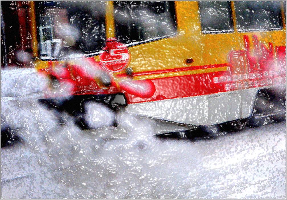 "фото ""маршрут - ""зимний"""" метки: digital art, разное, фрагмент, обледенение, трамвай"