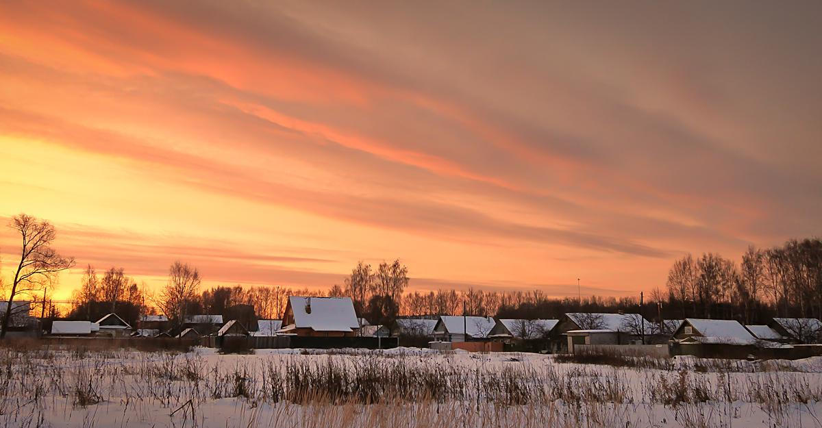 """фото """"Живописный рассвет"""" метки: пейзаж, зима, небо, рассвет, снег"""