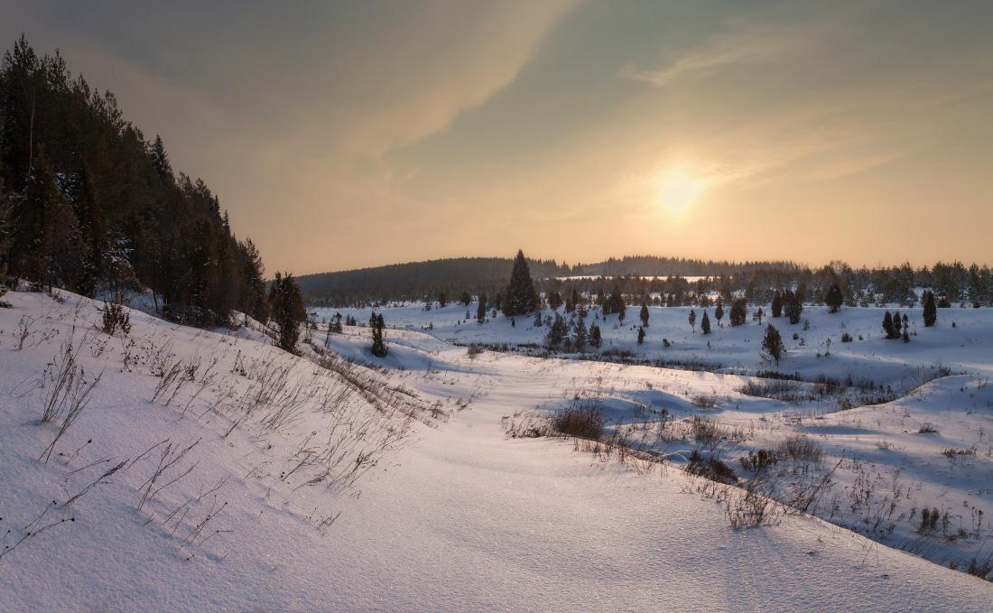 """фото """"Изгибы снежной реки"""" метки: пейзаж, вечер, закат, зима, лес, мороз, склон, снег, сугробы, текстура"""