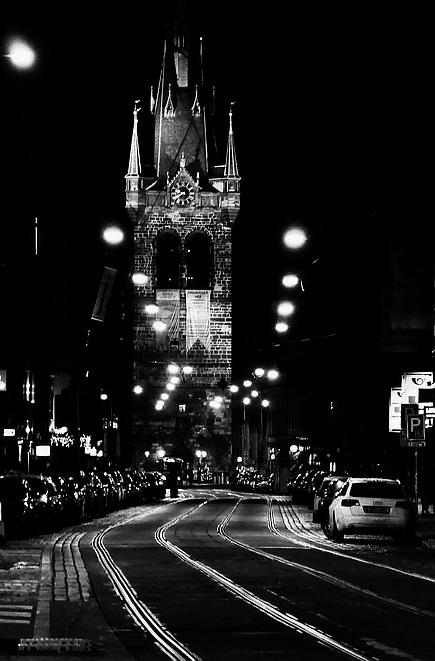 """фото """"Hочной улица-2"""" метки: черно-белые, Prag, Praha, Прага"""