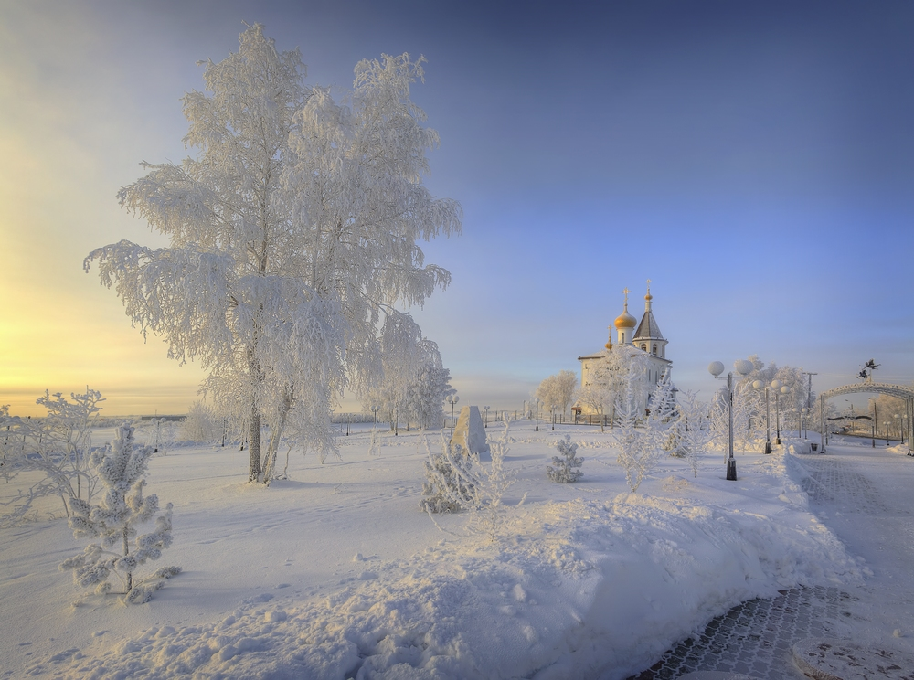 "photo ""***"" tags: landscape, snow, temple, winter, Берёза, мороз"