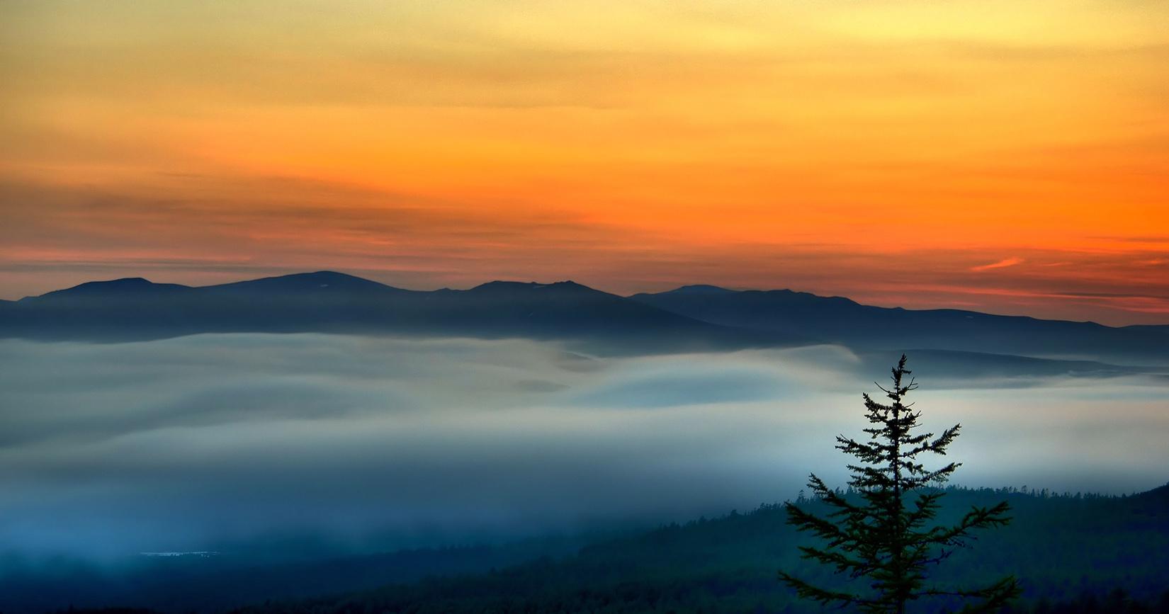 "photo ""***"" tags: landscape, autumn, fog, sunset"