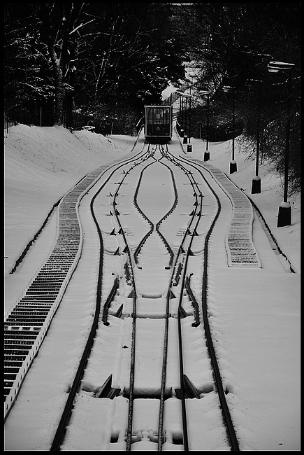 "фото ""Зимняя канатная дорога"" метки: черно-белые, Prag, Praha, Прага"