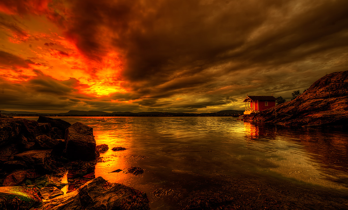 """фото """"Red Sky...."""" метки: пейзаж, Europe, вода, закат, зима"""