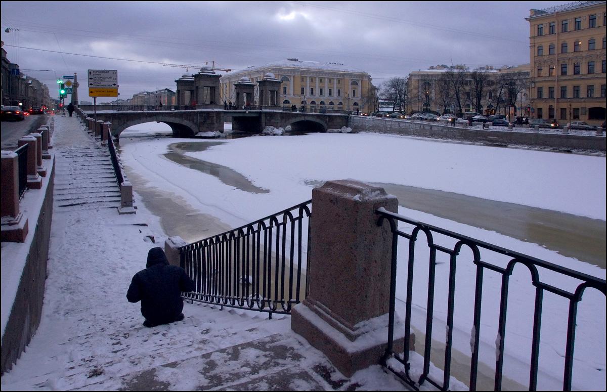 "photo ""* * *"" tags: street, St. Petersburg, bridge, Фонтанка"