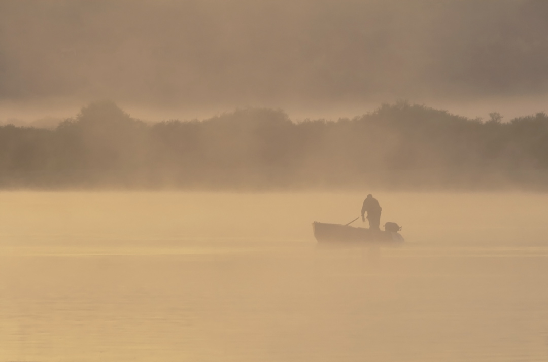 "photo ""***"" tags: landscape, fog, river, sunrise, рыбак"