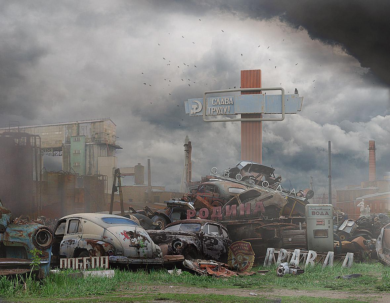 """photo """"***"""" tags: montage, digital art, technics, Правда, ворона, восток, мир, победа, птицы, ракета, родина, свалка, свобода, слава, труд"""