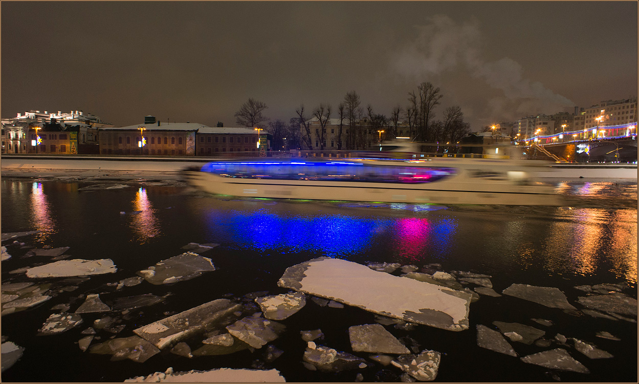 "photo ""On the boat music plays ..."" tags: landscape, night, water, winter"