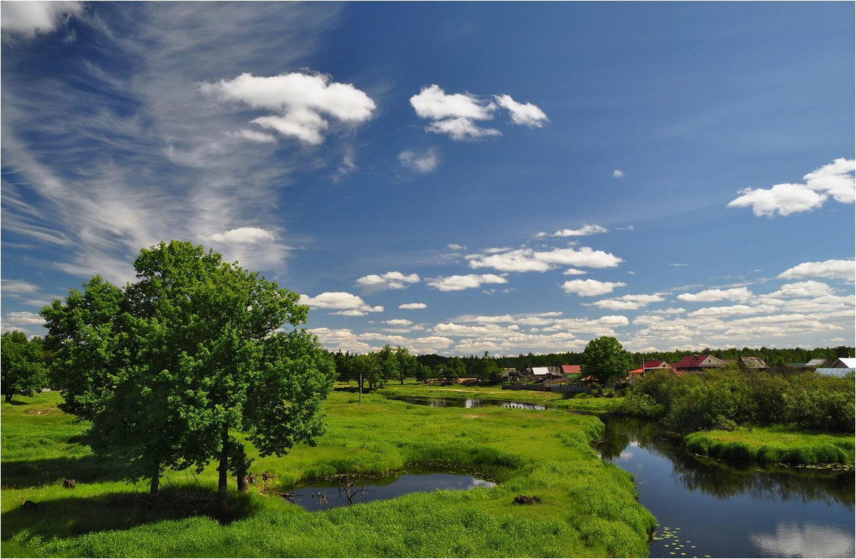 "photo ""***"" tags: landscape, clouds, grass, river, summer, water, деревня, дома"