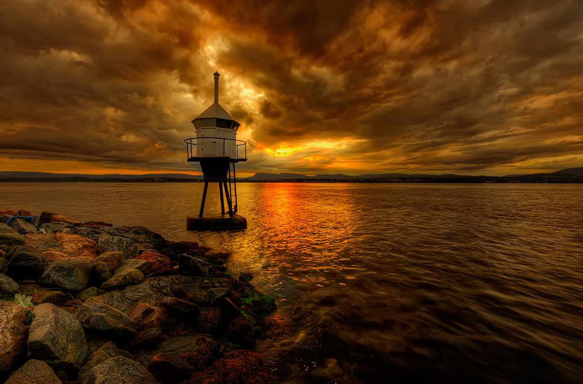 "photo ""Lighthouse."" tags: landscape, Europe, clouds, night, sea, summer"