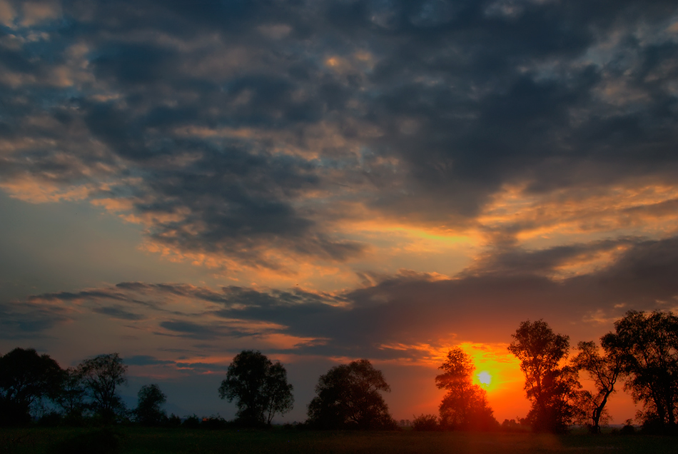 "photo ""The sky at sunset"" tags: landscape, nature, autumn, sun, sunset, ночь. небо. облака"