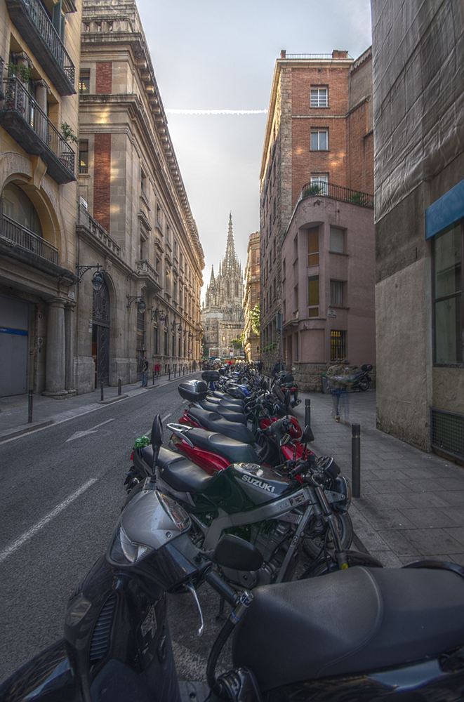 "photo ""Barcelona Cathedral"" tags: architecture, city, travel, Barcelona, Bikes, Europe, cathedral, spain, street"