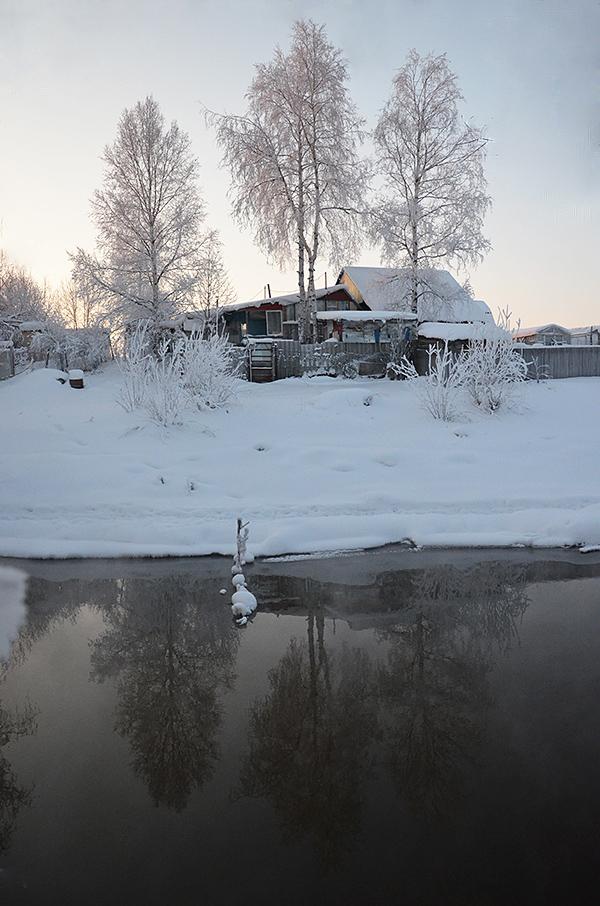 """фото """"На том берегу"""" метки: пейзаж, природа, вода, деревня, зима, снег"""