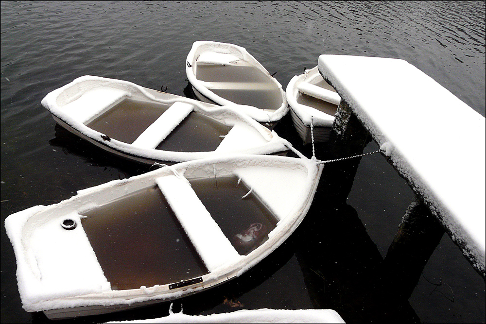 "photo ""***"" tags: landscape, black&white, Bucharest, boats, frost, lake, parks, snow"