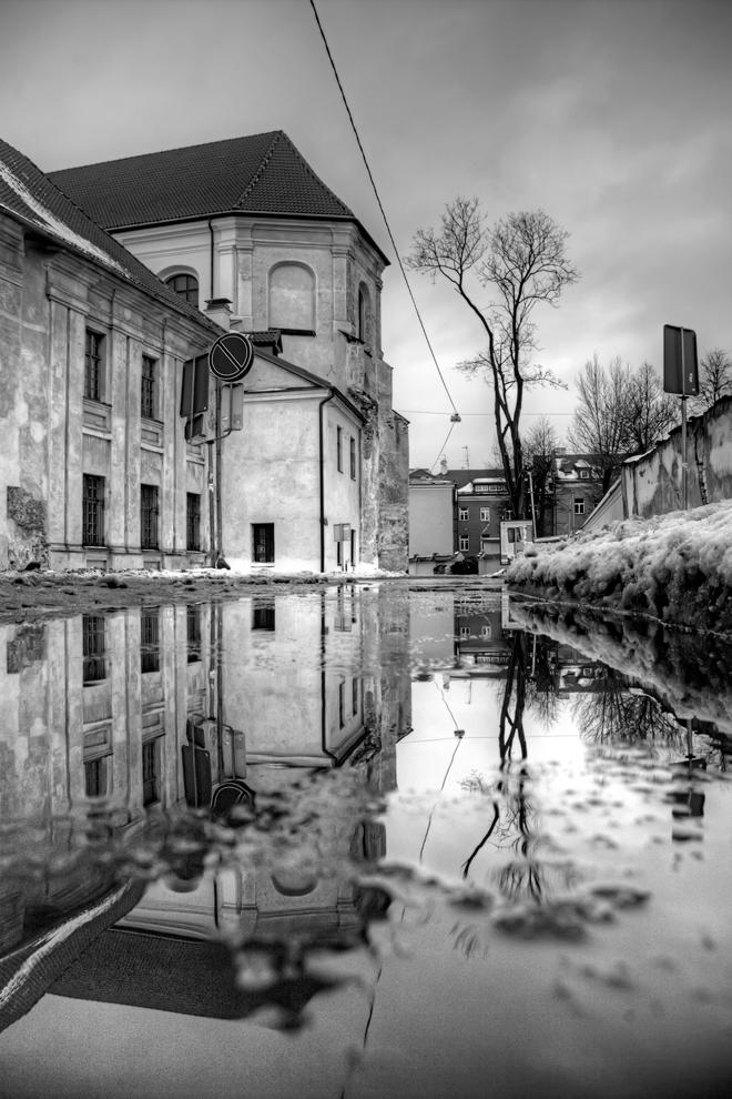 """фото """"***"""" метки: город, черно-белые, Европа, Литва, здание, зима, оченькрасиво"""