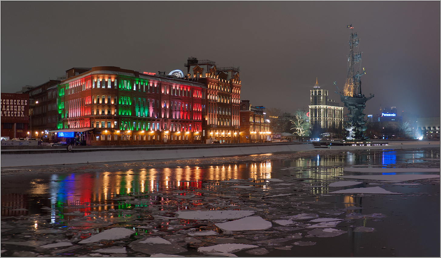 "photo ""***"" tags: landscape, architecture, night, river, water, winter"