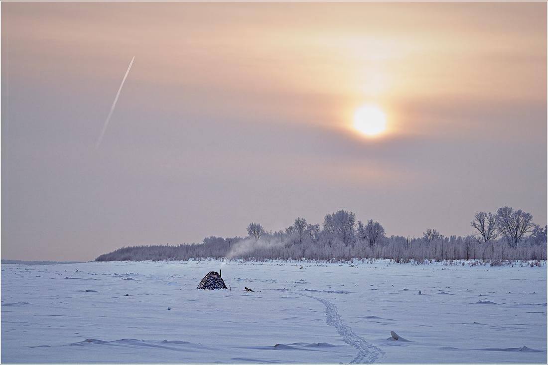 """фото """"За тишиной – из суеты…"""" метки: пейзаж, природа, зима, подледный лов, рыбалка"""