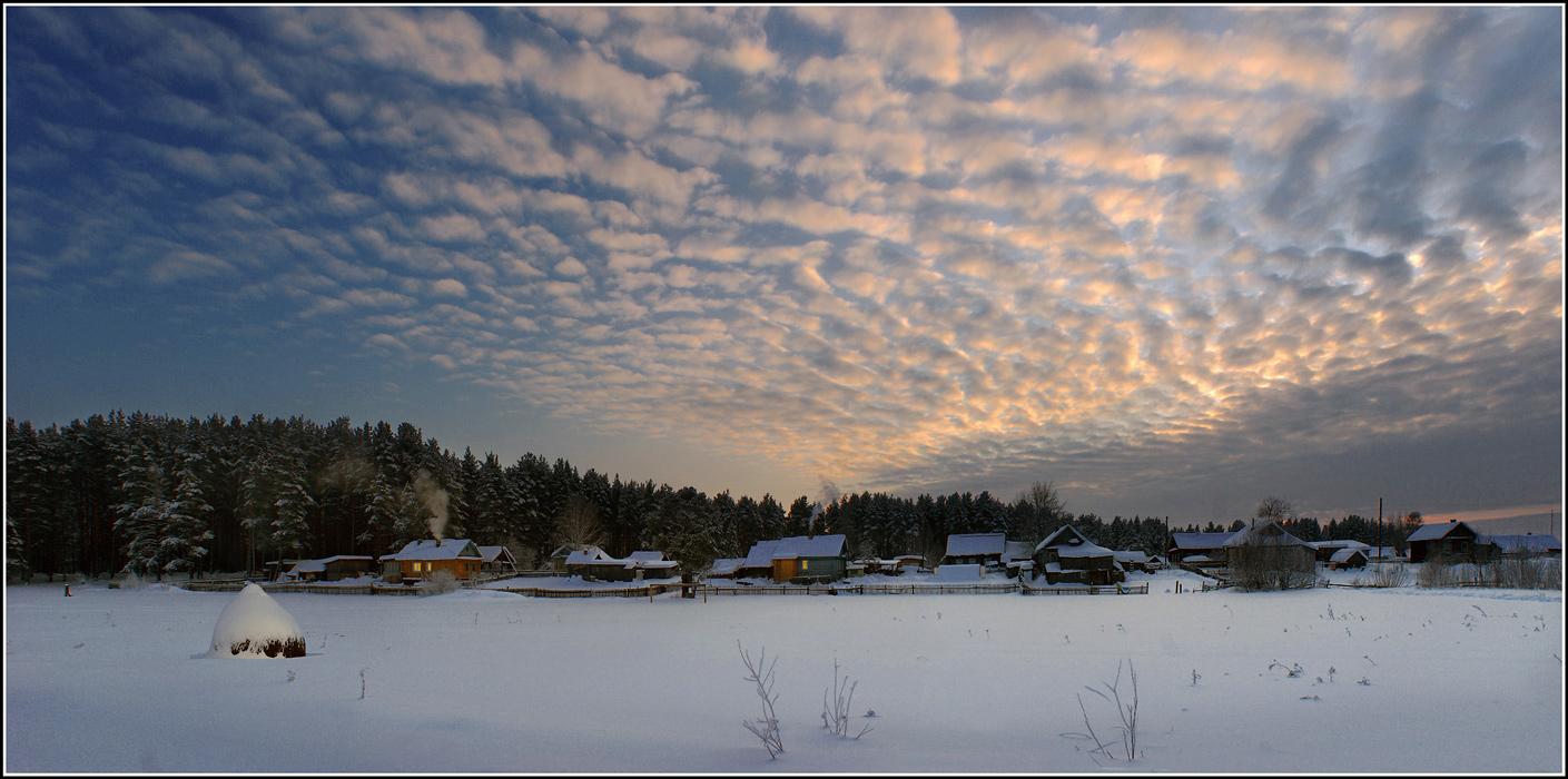"""фото """"Зимний вечер в деревне"""" метки: пейзаж,"""