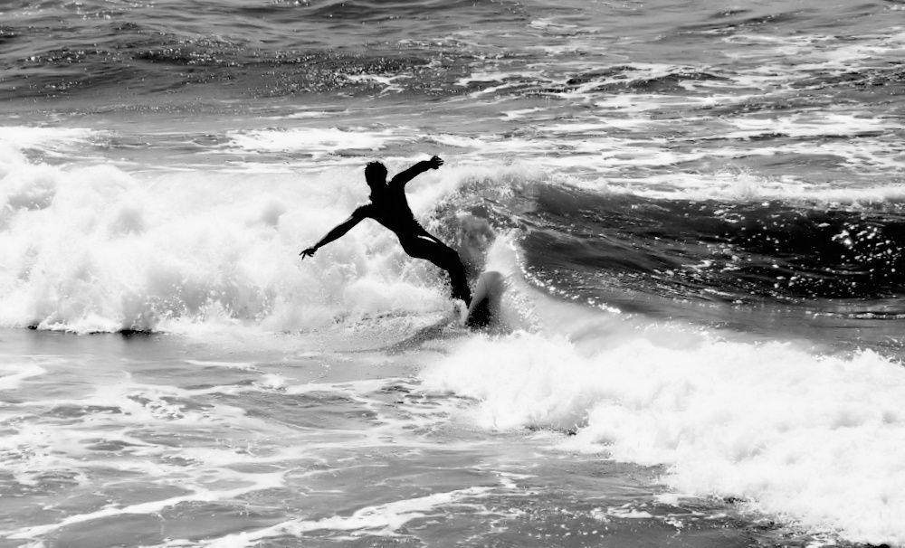 "photo ""Dancing with the Waves..."" tags: sport, black&white,"