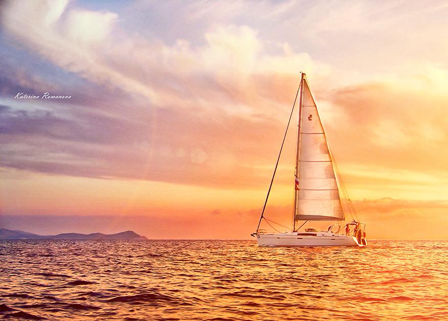 """фото """"***"""" метки: пейзаж, путешествия, Греция, закат, море, яхта"""