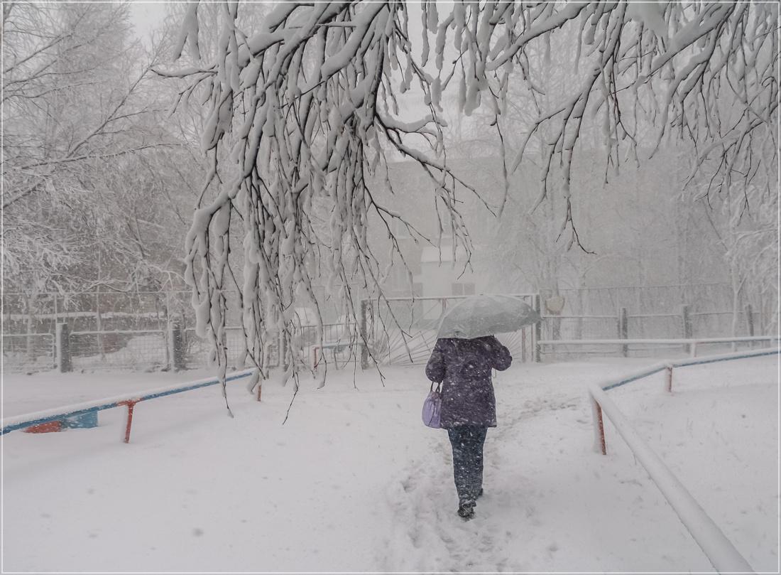 """фото """"Весенний снегопад"""" метки: пейзаж, город,"""