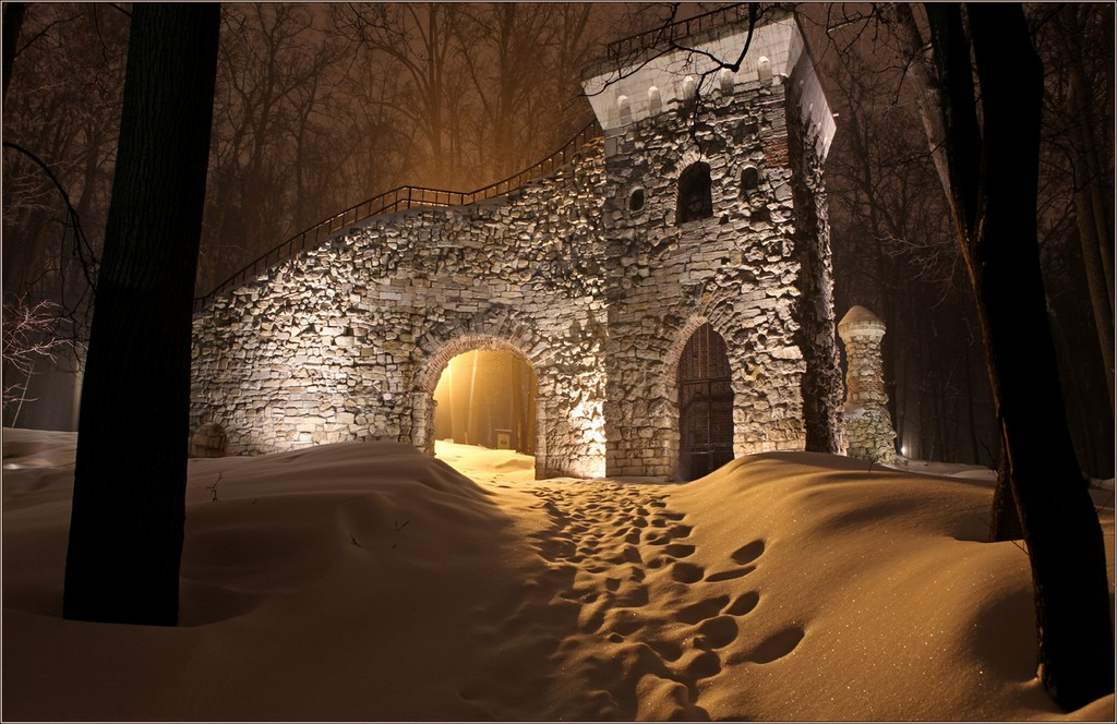"фото ""Зимняя ""сказка на ночь"""" метки: архитектура, пейзаж, город, Царицыно"