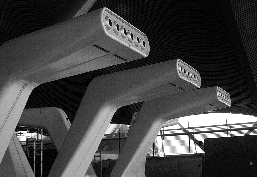 "photo ""3 Tubes"" tags: travel, architecture, black&white, Madrid Airport"