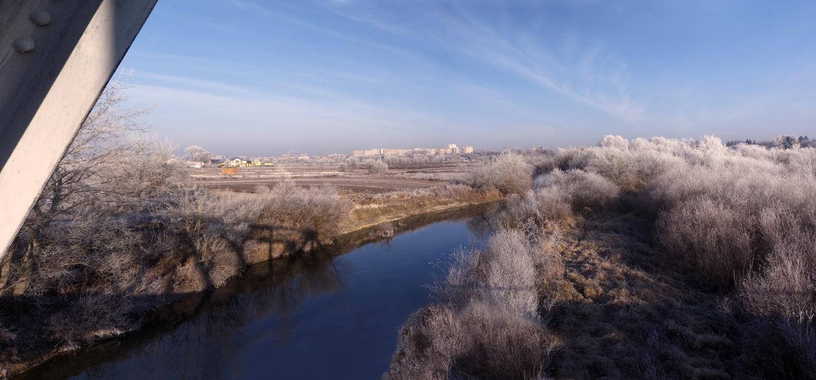 "фото ""Изморозь..."" метки: пейзаж, изморозь, небо, река"