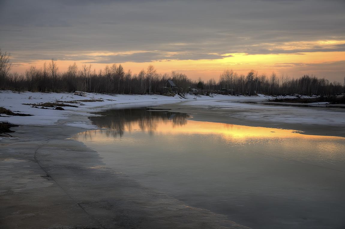 "фото ""Весенним вечером"" метки: пейзаж, природа, весна, вечер, вода, закат, лед, снег"
