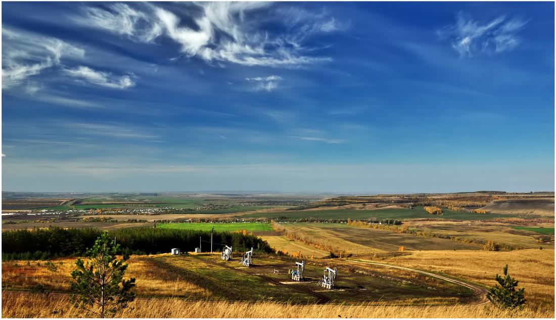"""фото """"***"""" метки: пейзаж, деревья, лес, небо, облака, осень, поле, холмы"""