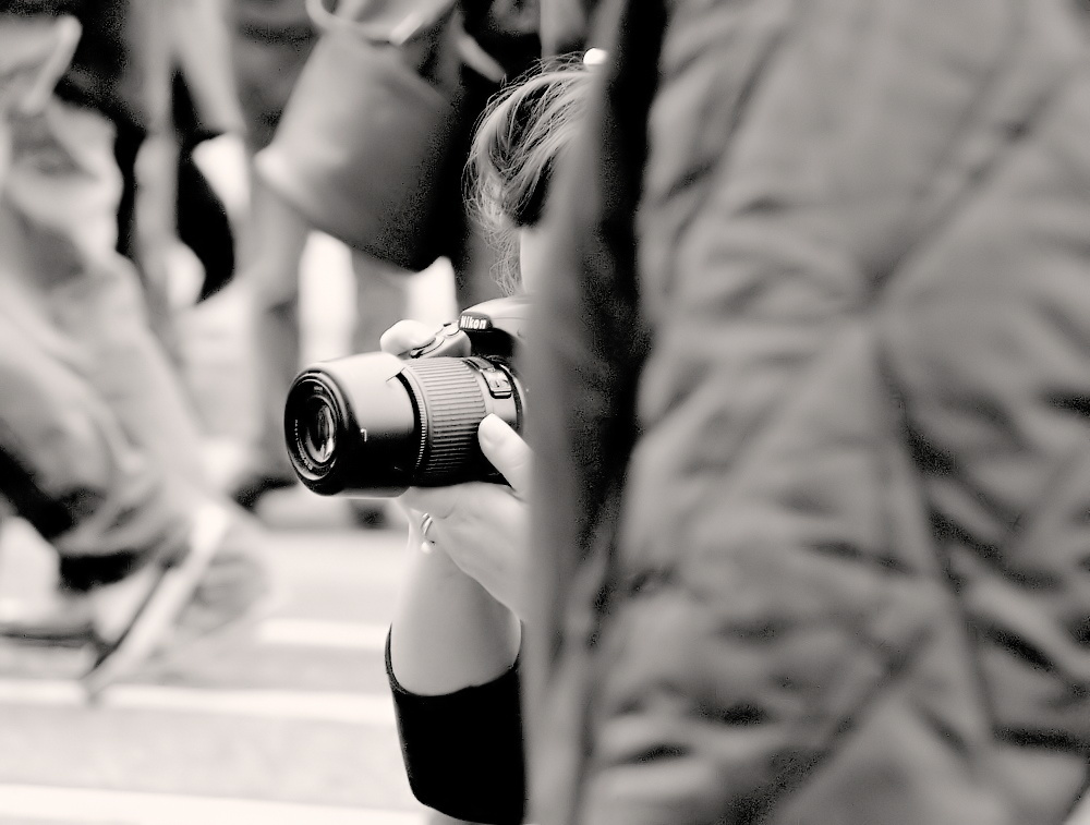"photo ""The Photographer... Eye..."" tags: portrait, black&white, street,"