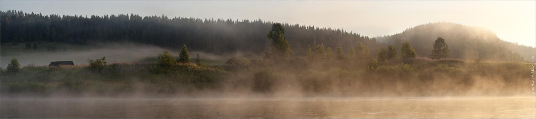 "фото ""Панорамка (фрагмент) / 0199_0228-0231"" метки: пейзаж, панорама, вода, лес, лето, рассвет, река, туман"