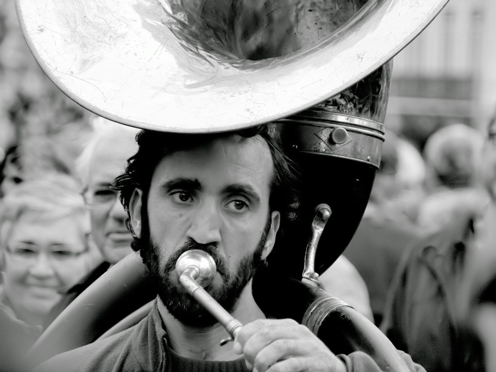 "photo """"The Trombone Player"""" tags: portrait, black&white, street,"