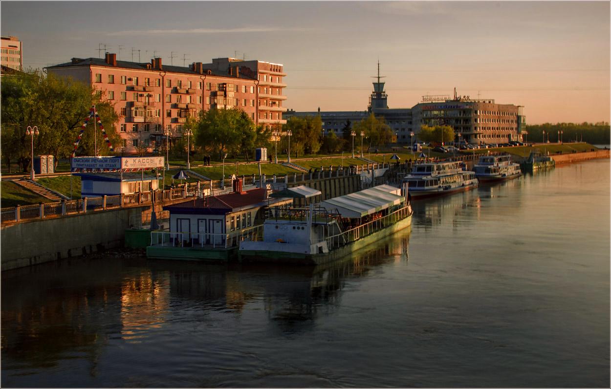 "фото ""Омск вечерний..."" метки: путешествия, пейзаж, город, foto liubos, Россия, вечер, омск, пристань, река, сибирь"
