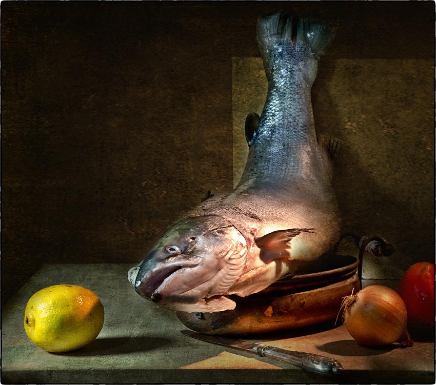 """фото """"С  лососем"""" метки: натюрморт, ретро,"""