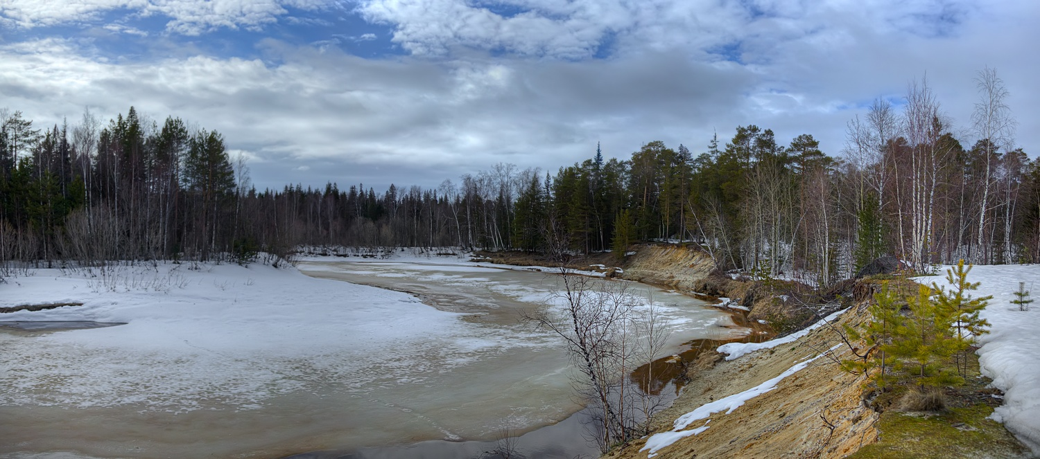 "photo ""***"" tags: landscape, panoramic, river, snow, spring, water, лед"