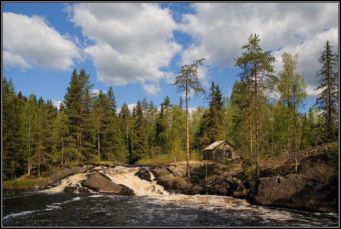 "photo ""The gatehouse at the rapids"" tags: landscape, Karelia, river, порог, сторожка"