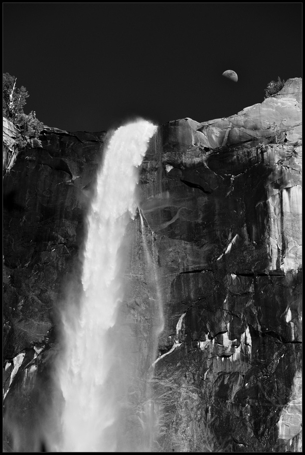 "photo ""Moon rising over the waterfall"" tags: landscape, black&white, mountains, spring, water"