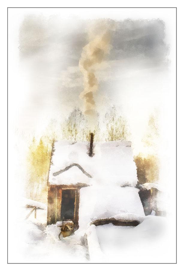 """фото """"Банька..."""" метки: digital art, пейзаж, архитектура, баня, деревня, зима"""