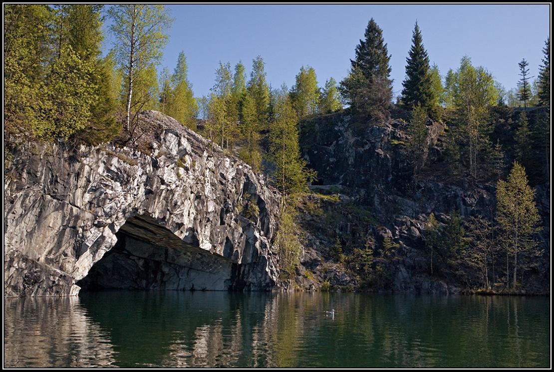 "photo ""Ruskeala grotto"" tags: landscape, Karelia, water, грот"