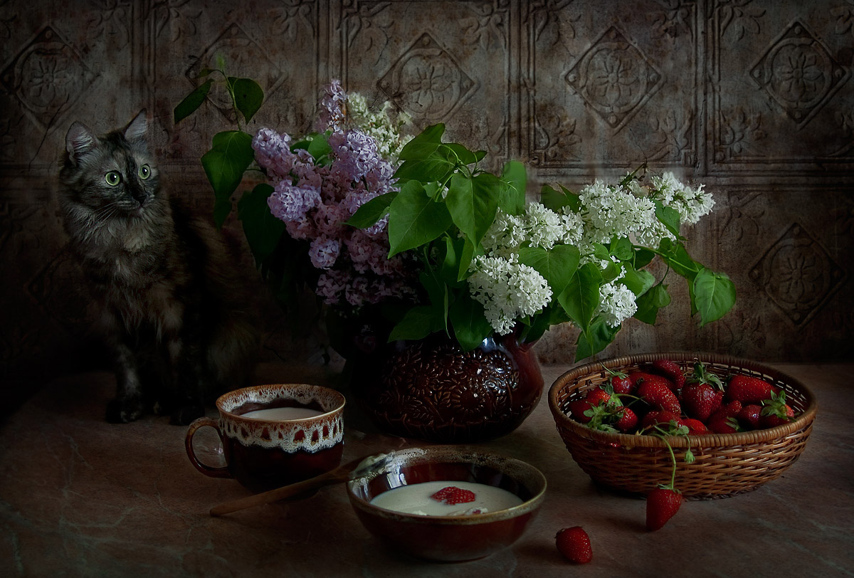 "photo ""Sour cream and strawberry temptation"" tags: still life,"
