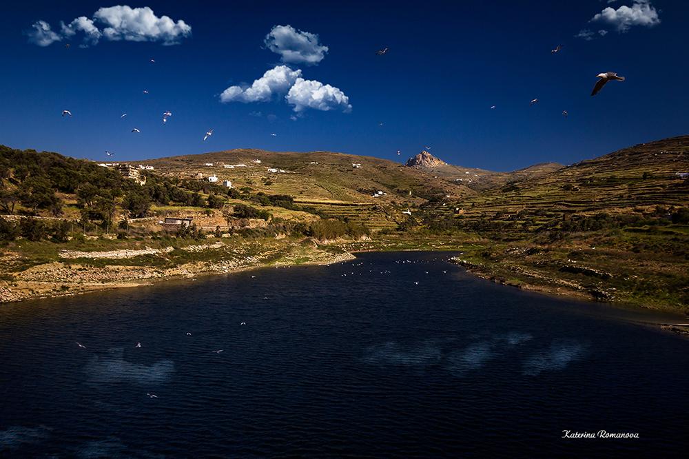 """фото """"озеро"""" метки: пейзаж, путешествия, природа, Греция, Европа, Тинос, вид, остров"""