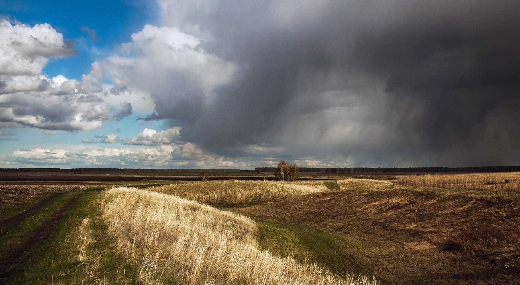 """фото """"Весенние контрасты"""" метки: пейзаж, мелкий град, прошлогодняя трава, свежая зелень, синее  небо, черные тучи"""