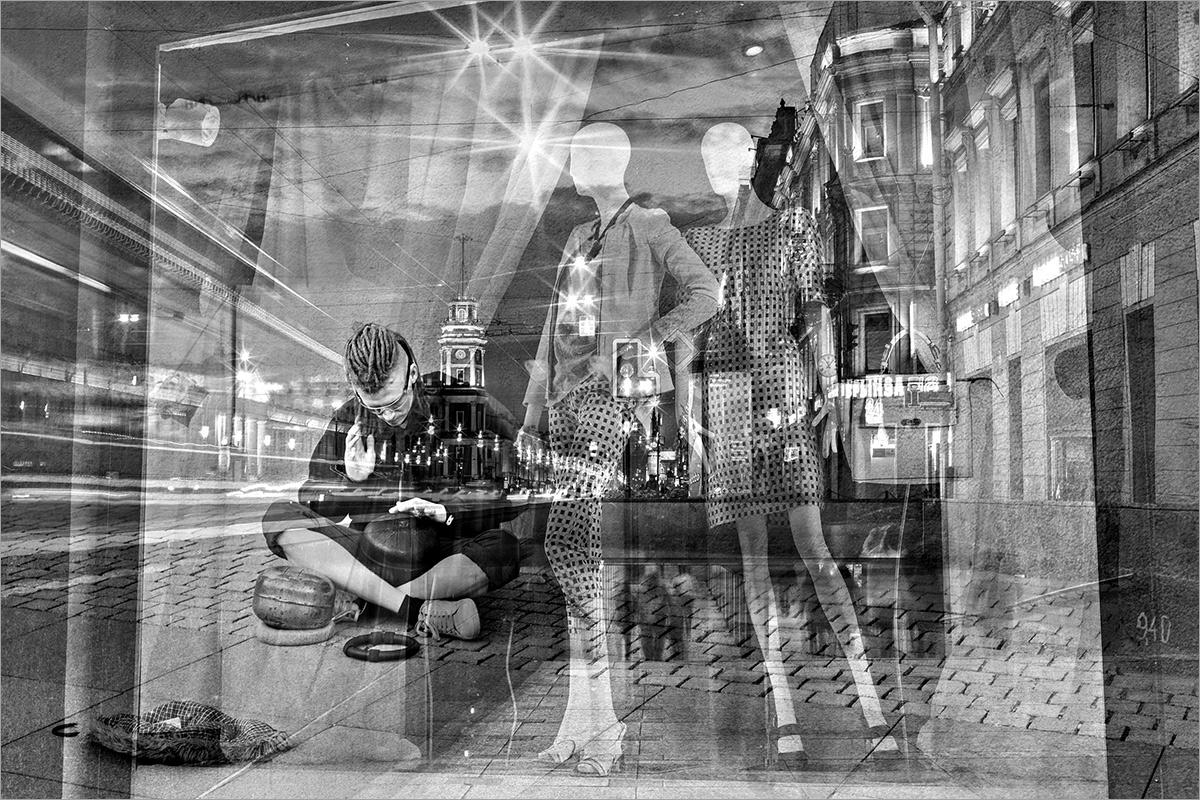 "photo ""Evening Nevsky"" tags: city, black&white, montage, St. Petersburg"