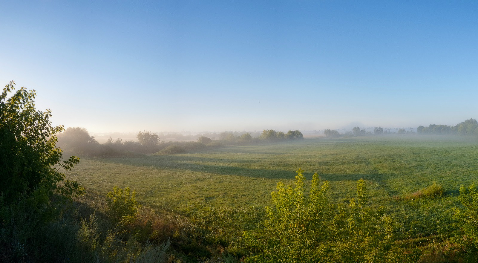 "photo ""The sun rose!.."" tags: landscape, panoramic, fog, grass, meadow, morning"